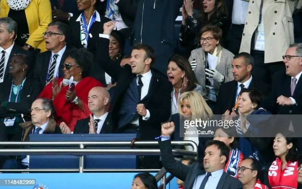 French President Emmanuel Macron celebrates the first goal for France with his wife Brigitte Macron French Minister of Sports Roxana Maracineanu...