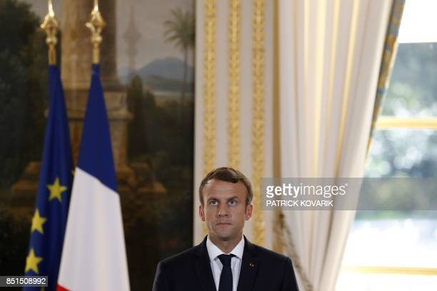French President Emmanuel Macron delivers a press conference with the president of the European Parliament at the Elysee palace in Paris on September...