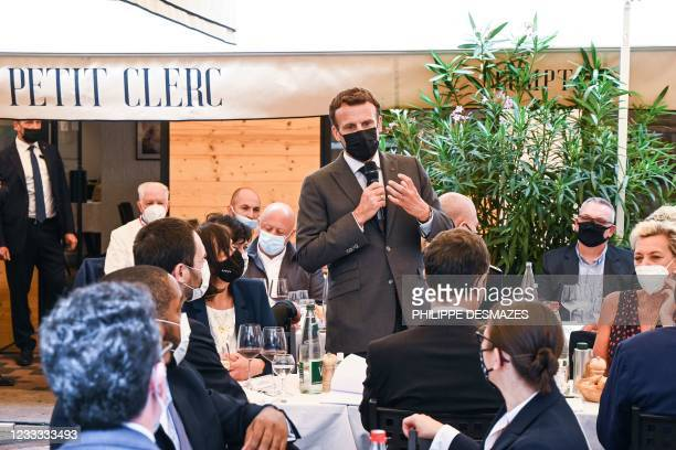 French President Emmanuel Macron delivers a speech before a lunch in Valence, on June 8 during a day visit in the French southeastern department of...