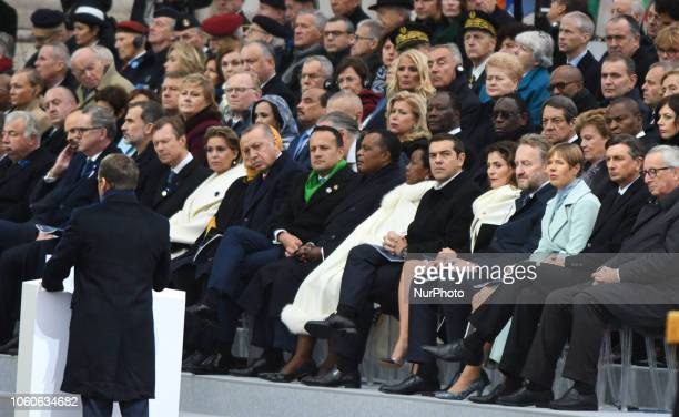 French President Emmanuel Macron delivers a speech during a ceremony at the Arc de Triomphe in Paris on November 11 2018 as part of commemorations...