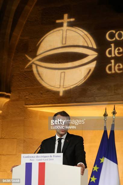 French President Emmanuel Macron delivers a speech during a meeting of the Bishops' Conference of France at College des Bernardins in Paris on April...