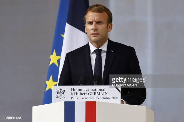 French President Emmanuel Macron delivers a speech during a national memorial service for Hubert Germain - the last surviving Liberation companion -...