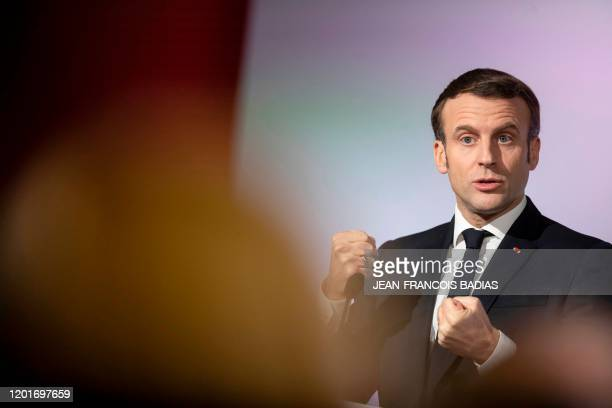 French President Emmanuel Macron delivers a speech during a trip on the theme of the republican reconquest and the fight against Islamist separatism...