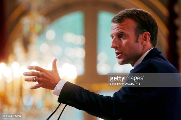 French President Emmanuel Macron delivers a speech during the annual French ambassadors' conference at the Elysee Palace in Paris on August 27 2018