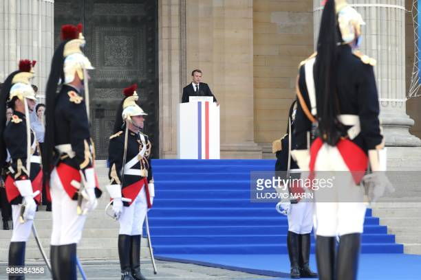 French President Emmanuel Macron delivers a speech during the burial ceremony for former French politician and Holocaust survivor Simone Veil and her...