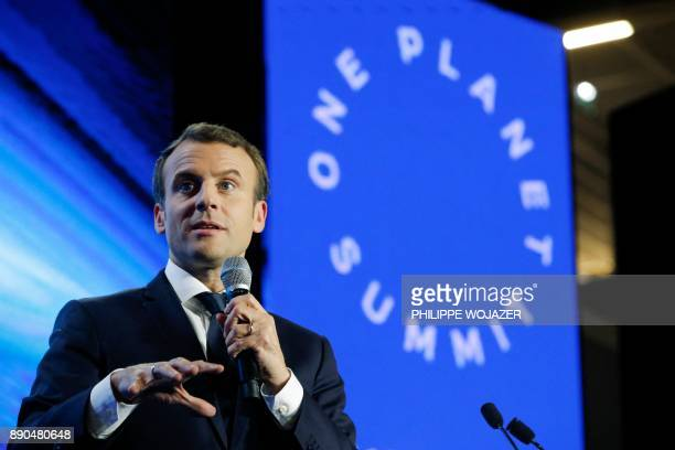 French President Emmanuel Macron delivers a speech during the 'Tech for Planet' event at the 'Station F' startup campus ahead of the One Planet...