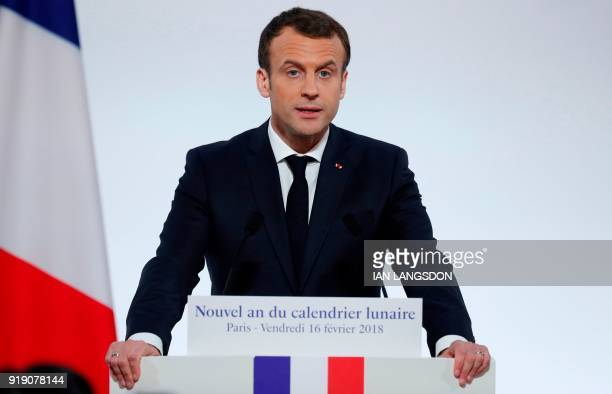 French President Emmanuel Macron delivers a speech in front of members of the Chinese community living in France at the Elysee Palace in Paris on...