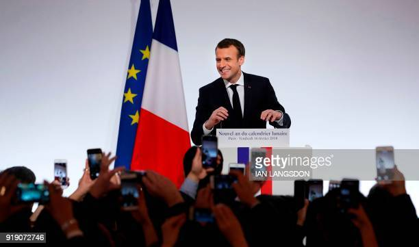 French president Emmanuel Macron delivers a speech to members of France's Chinese community during the Chinese New Year celebrations at the Elysee...