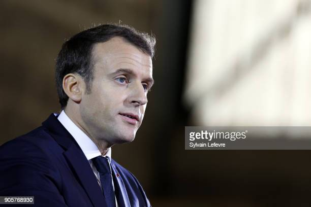 French President Emmanuel Macron delivers a speech to police officers and gendarmes in the Gendarmerie headquarters on January 16 2018 in Calais...