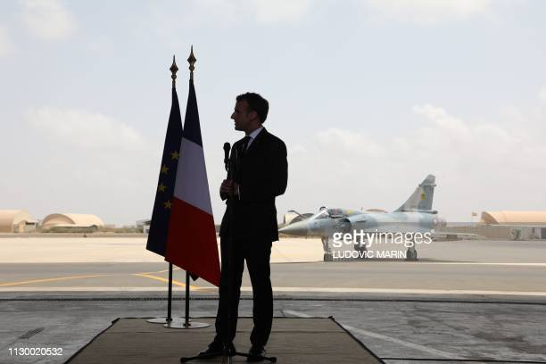 French president Emmanuel Macron delivers a speech to soldiers on the French military base in Djibouti on March 12 2019 French President Macron tours...