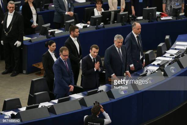 French President Emmanuel Macron delivers his speech at the European Parliament in Strasbourg eastern France Tuesday April 17 2018 Macron is expected...