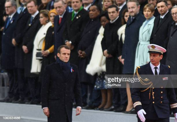 French President Emmanuel Macron during a ceremony at the Arc de Triomphe in Paris on November 11 2018 as part of commemorations marking the 100th...