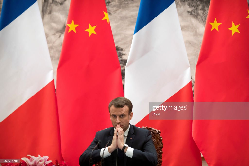 French President Emmanuel Macron during a joint press briefing with Chinese President Xi Jinping at the Great Hall of the People on January 9, 2018 in Beijing, China. At the invitation of Chinese President Xi Jinping, President of the French Republic Emmanuel Macron will pay a state visit to China from January 8th to 10th.