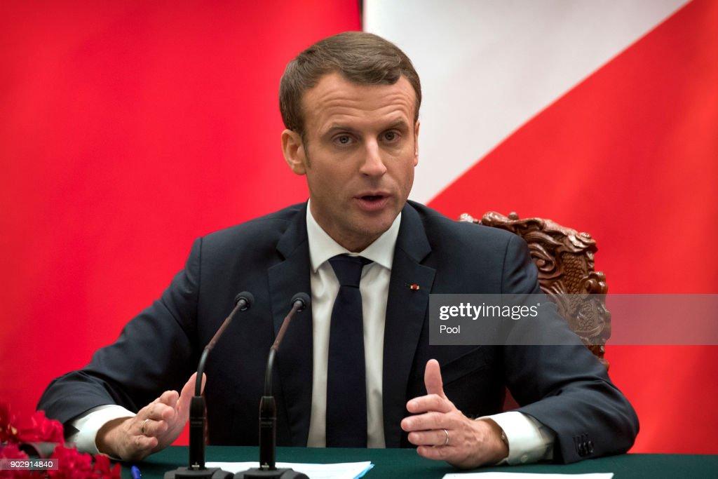 French President Emmanuel Macron Visits China : Fotografía de noticias