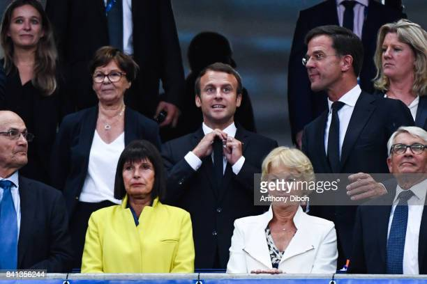 French president Emmanuel Macron during the Fifa 2018 World Cup qualifying match between France and Netherlands at Stade France on August 31 2017 in...