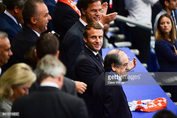 French president Emmanuel Macron during the Fifa 2018 World Cup qualifying match between France and Netherlands at Stade de France on August 31 2017...