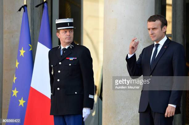 French President Emmanuel Macron escorts Mahmoud Abbas after a meeting at Elysee Palace on July 5 2017 in Paris France Palestinian President Mahmoud...