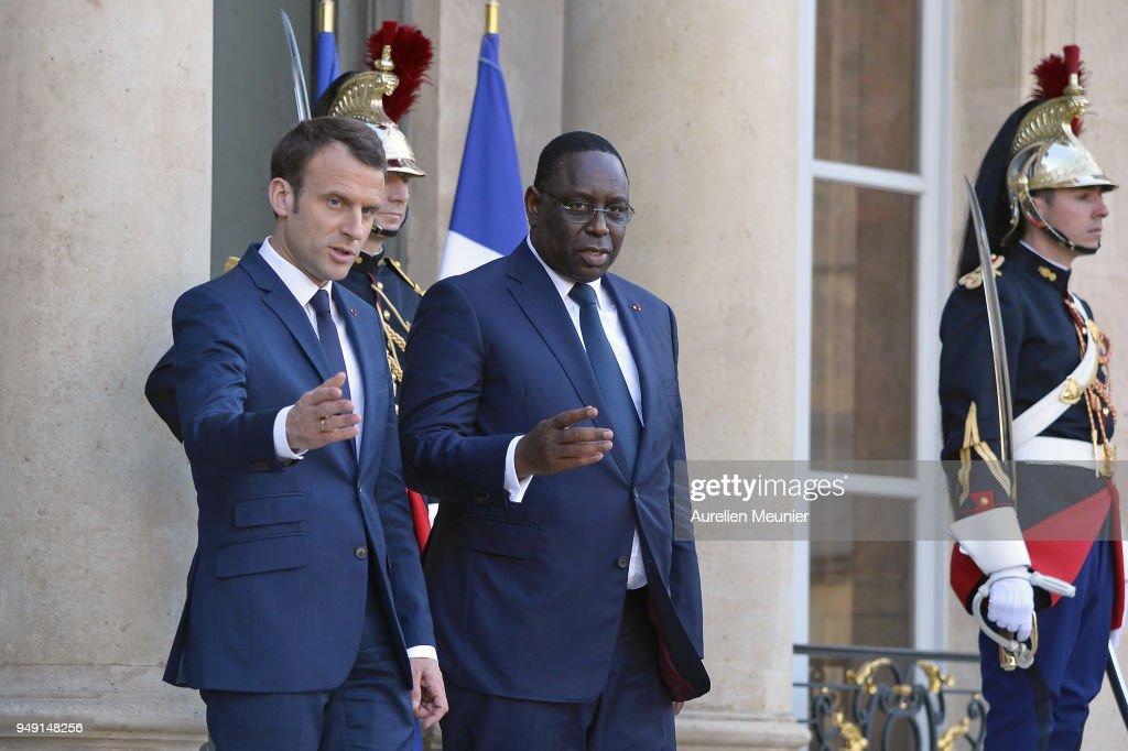 French President Emmanuel Macron Receives Senegal President Macky Sall At Elysee Palace In Paris