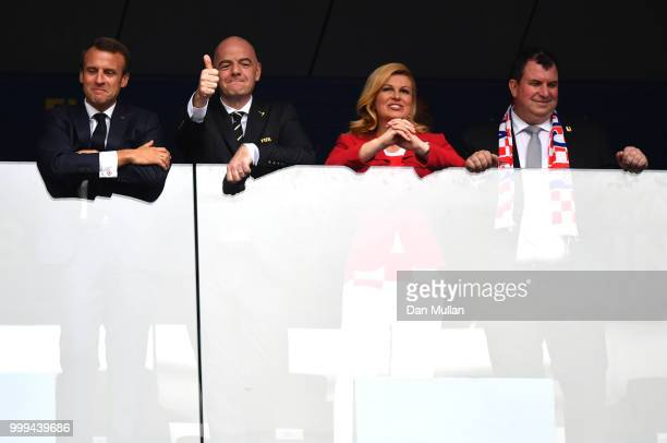 French President Emmanuel Macron FIFA president Gianni Infantino and Croatia's President Kolinda GrabarKitarovic are seen during the 2018 FIFA World...