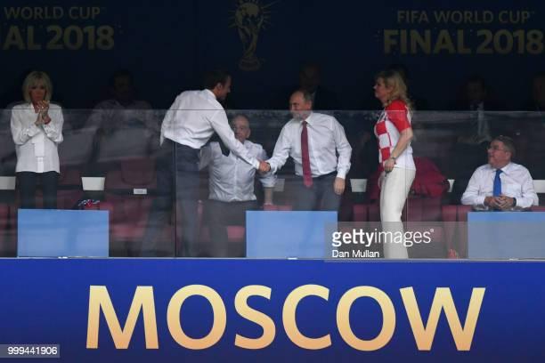 French President Emmanuel Macron FIFA president Gianni Infantino President of Russia Vladimir Putin and Croatia's President Kolinda GrabarKitarovic...