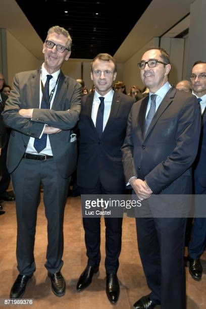 French President Emmanuel Macron Former Chief Executive of the Louvre Henri Loyrette and Chief Executive of the Louvre JeanLuc Martinez attend The...
