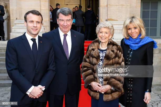 French President Emmanuel Macron French Academician Xavier Darcos Permanent Secretary of the French Academy Helene Carrere d'Encausse and Brigitte...
