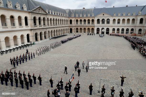 French President Emmanuel Macron French Defence Minister Florence Parly French Junior Defence Minister Genevieve Darrieussecq Chief of the Military...