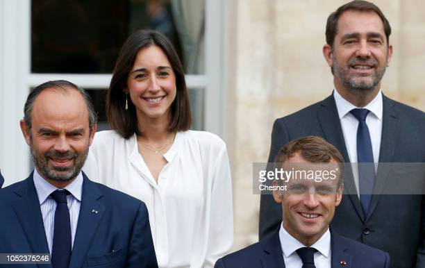 French President Emmanuel Macron French Junior Minister attached to the Minister of Ecological and Inclusive Transition Brune Poirson Christophe...