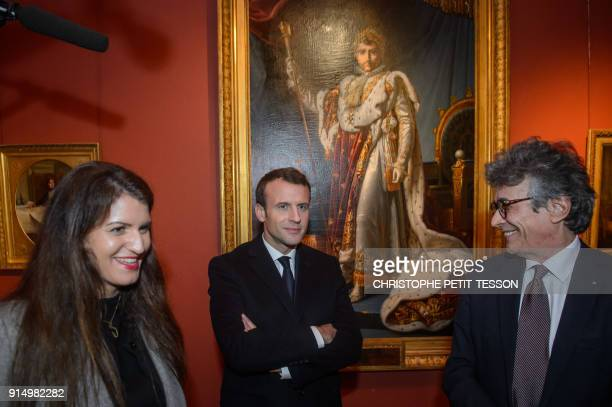 French President Emmanuel Macron French Junior Minister for Gender Equality Marlene Schiappa and Fesch Museum director Philippe Costamagna stand near...
