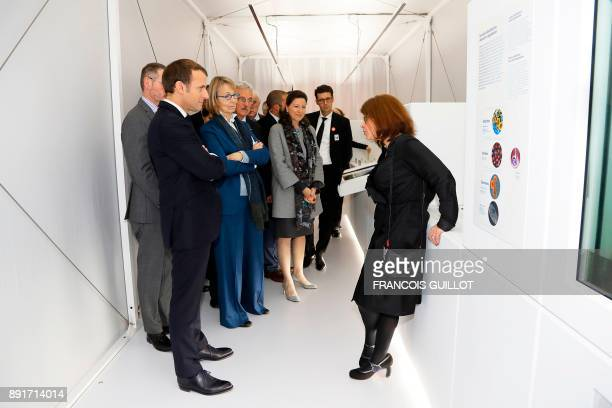 French President Emmanuel Macron French member of Parliament Marielle de Sarnez and French Minister for Solidarity and Health Agnes Buzyn listen to...
