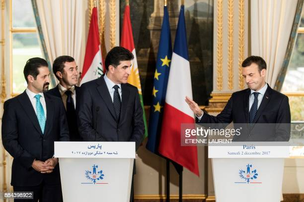 French President Emmanuel Macron gestures as he addresses a joint press conference with Regional Kurdistan Government Prime Minister Nechirvan...