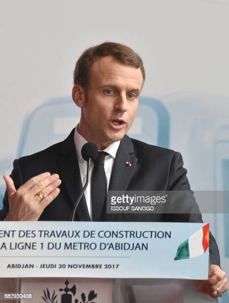 French President Emmanuel Macron gestures as he delivers a speech during a ceremony for the start of the construction of the first metro line in...