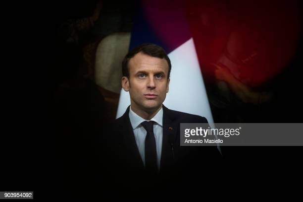 French President Emmanuel Macron gives a joint press conference with Italian Prime Minister Paolo Gentiloni after their meeting at the Palazzo Chigi...