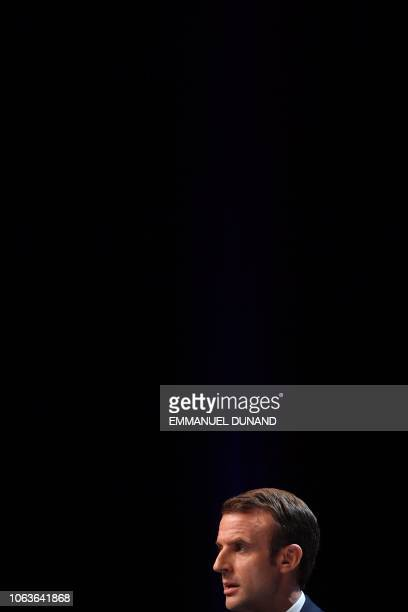 French President Emmanuel Macron gives a speech during his visit at the University of Louvain on November 20 in LouvainlaNeuve during a twoday state...