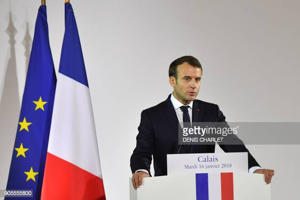 French President Emmanuel Macron gives a speech in the northern port of Calais on January 16 2018 vowing that France will not allow another migrant...