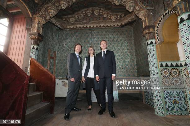 French President Emmanuel Macron his cultural special adviser and French TV host Stephane Bern and French Culture Minister Francoise Nyssen visit...
