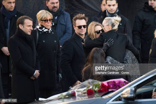 French President Emmanuel Macron his wife Brigitte Macron David Hallyday Laura Smet and Laetitia Hallyday during Johnny Hallyday's Funeral Procession...