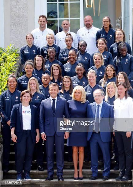 French President Emmanuel Macron his wife Brigitte Macron French Sport Minister Roxana Maracineau France's National Women's Soccer Team's head coach...