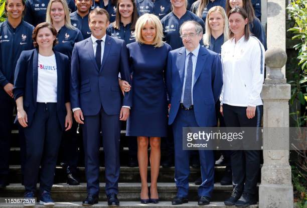 French President Emmanuel Macron his wife Brigitte Macron French Sport Minister Roxana Maracineau France's National Women's Soccer Team's head coach...