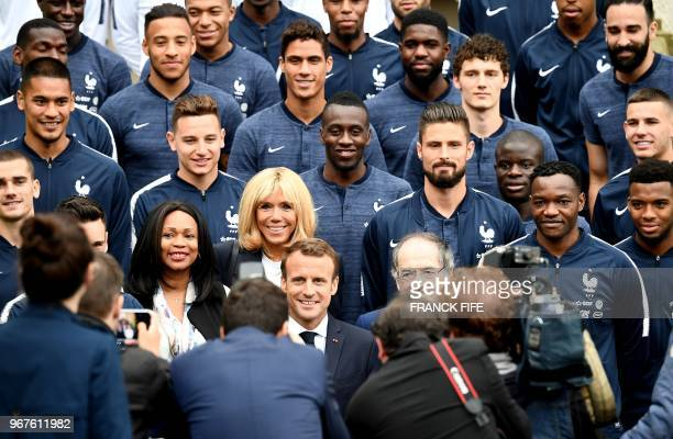 French President Emmanuel Macron his wife Brigitte Macron French Sports Minister Laura Flessel and French Football Federation President Noel Le Graet...