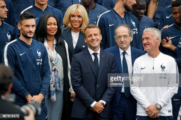 French President Emmanuel Macron his wife Brigitte Macron French Sports Minister Laura Flessel French Football Federation President Noel Le Graet...