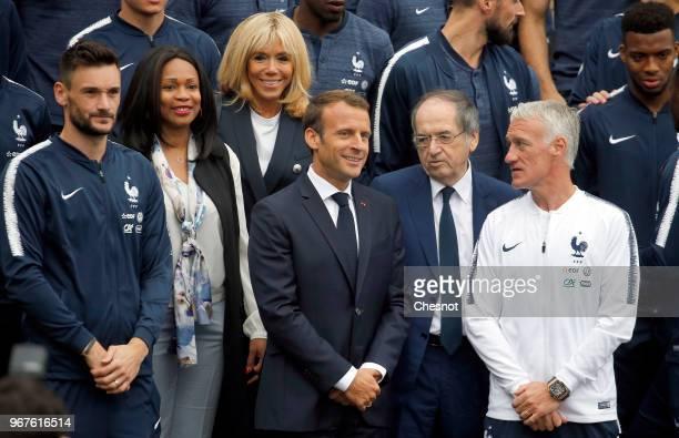 French President Emmanuel Macron his wife Brigitte Macron French Sports Minister Laura Flessel French Football Federation President Noel Le Graet...