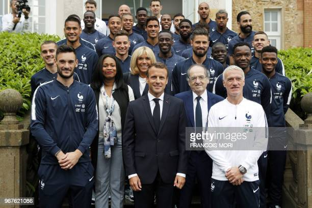 French President Emmanuel Macron his wife Brigitte Macron French Sports Minister Laura Flessel French Football Federation President Noel Le Graet and...