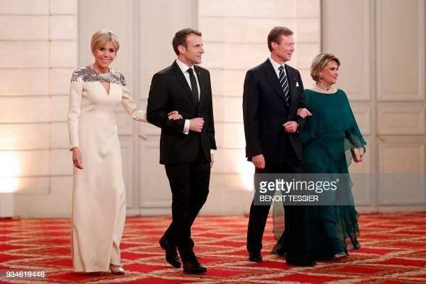 French President Emmanuel Macron his wife Brigitte Macron Grand Duke of Luxembourg Henri and his wife Maria Teresa Grand Duchess of Luxembourg arrive...