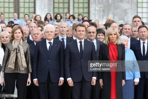 French President Emmanuel Macron , his wife Brigitte Macron , Italian President Sergio Mattarella and his daugther Laura Mattarella and other guests...