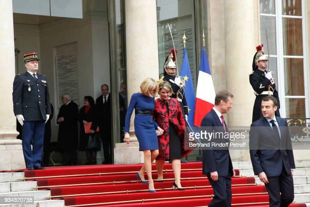 French President Emmanuel Macron, his wife Brigitte Macron, LL.AA.RR. Grand-Duc Henri and Grande-Duchesse Maria Teresa of Luxembourg attend LL.AA.RR....