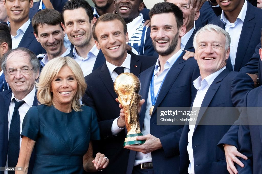 Emmanuel Macron Receives France's World Cup Winning Team At The Elysee Palace