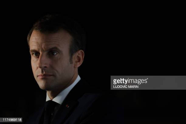 French President Emmanuel Macron holds a press conference at the end of the Global Fund meeting to Fight HIV, Tuberculosis and Malaria on october 10...