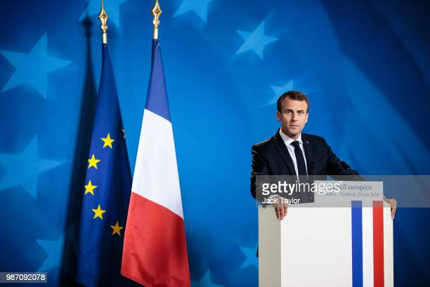 French President Emmanuel Macron holds a press conference on the final day of the European Council leaders' summit on June 29 2018 in Brussels...
