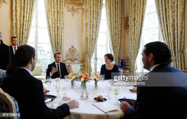 French President Emmanuel Macron hosts a lunch with Saad Hariri who announced his resignation as Lebanon's Prime Minister while on a visit to Saudi...